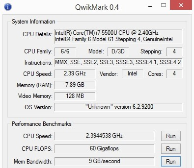 quickmark performance test cpu ram